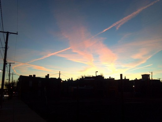 Contrails over Jackson Ward